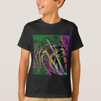 Deep green, and multi-color fractal design. T-Shirt