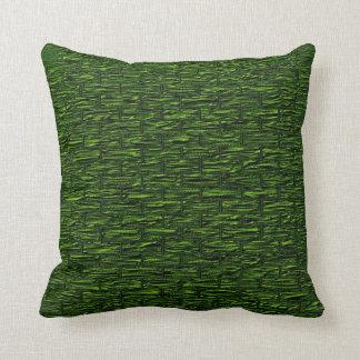 Deep Green Brick Pattern Lumbar and Throw Pillows