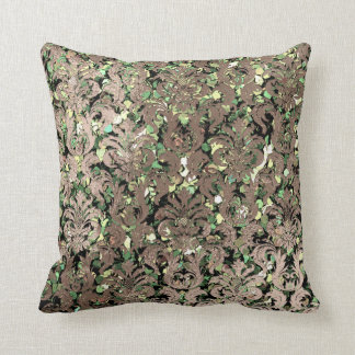 Deep Green Damask Skinny Glas Blush Sequin Bronze Throw Pillow