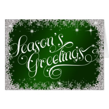 Deep Green Elegant Season's Greetings PERSONALIZE Card