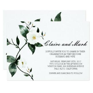 Deep Green Florals Watercolor Card