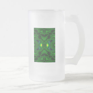 Deep Green Forest Cave Yellow Gold Light Mystical Frosted Glass Beer Mug