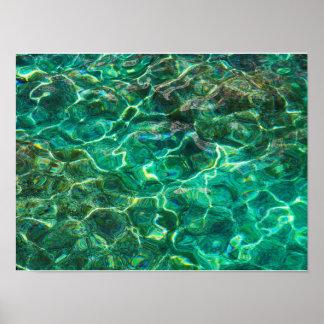 Deep green fresh waters poster