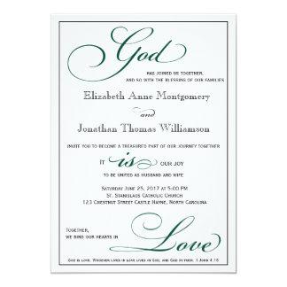 Deep Green God Is Love Christian Wedding Card