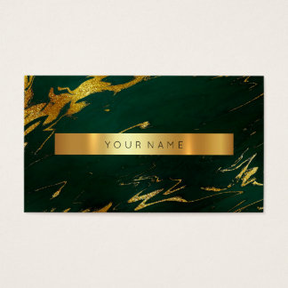 Deep Green Gold Marble Vip Business Card