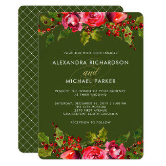 Deep Green Holiday Floral Wedding Invitation