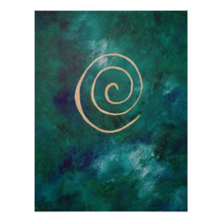 Deep Green Infinity Golden Spiral Philip Bowman Posters