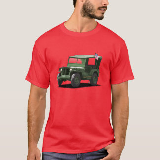 Deep Green on red MJ Military Vehicle T-Shirt