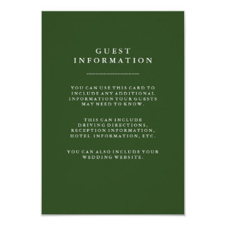 Deep Holiday Green Wedding Guest Information Card