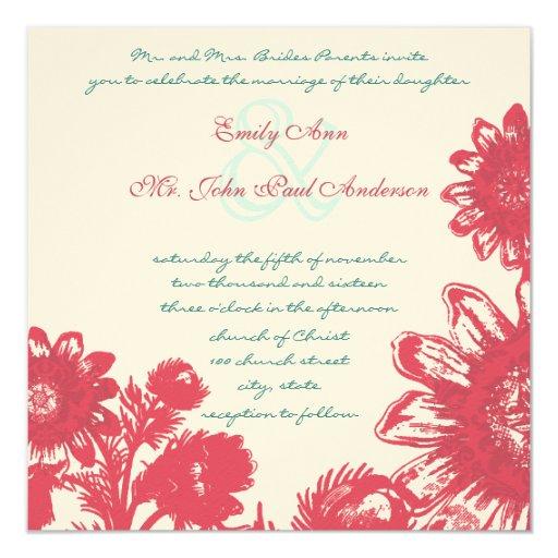 Deep Honeysuckle Vintage Flower Wedding Invite