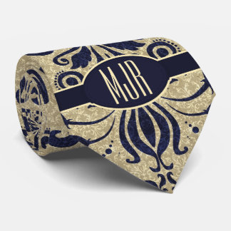 Deep Indigo Blue Swirls and Taupe Damask Monogram Tie