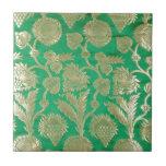 Deep jade and gold brocade tile