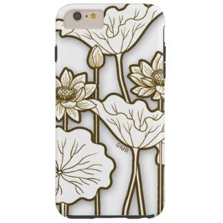 Deep Khaki Trim on Big White Flowers Monogram Tough iPhone 6 Plus Case