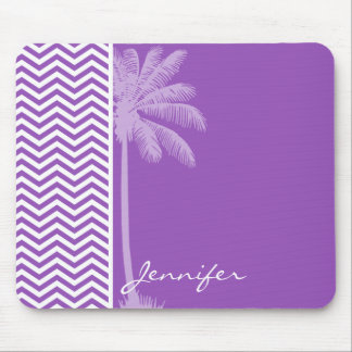 Deep Lilac Chevron; Summer Palm Mouse Pad