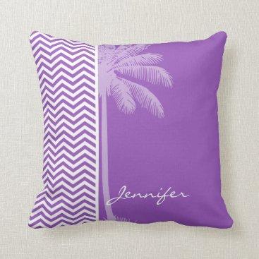 Beach Themed Deep Lilac Chevron; Summer Palm Throw Pillow