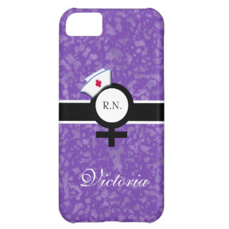 Deep Lilac+Female Sign+Nurse Cap/Name Cover For iPhone 5C