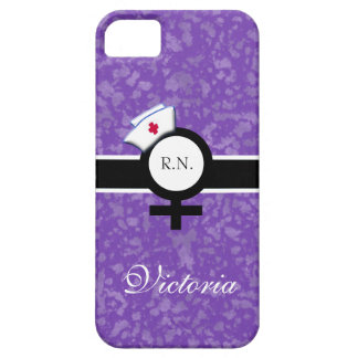 Deep Lilac+Female Sign+Nurse Cap/Name iPhone SE/5/5s Case