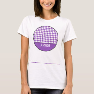Deep Lilac Houndstooth; Personalized T-Shirt