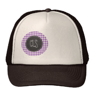 Deep Lilac Houndstooth; Vintage Chalkboard Mesh Hats