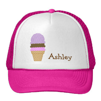 Deep Lilac Purple Chevron Stripes; Ice Cream Mesh Hat