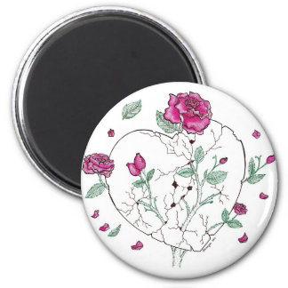 Deep Love Roses 2 Inch Round Magnet