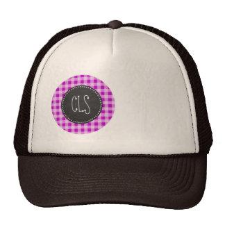 Deep Magenta Gingham; Chalkboard look Trucker Hat