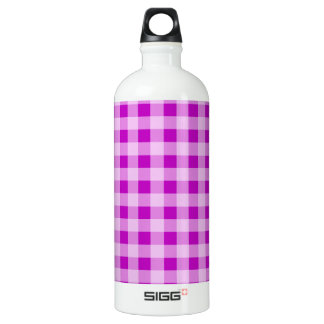 Deep Magenta Gingham Water Bottle