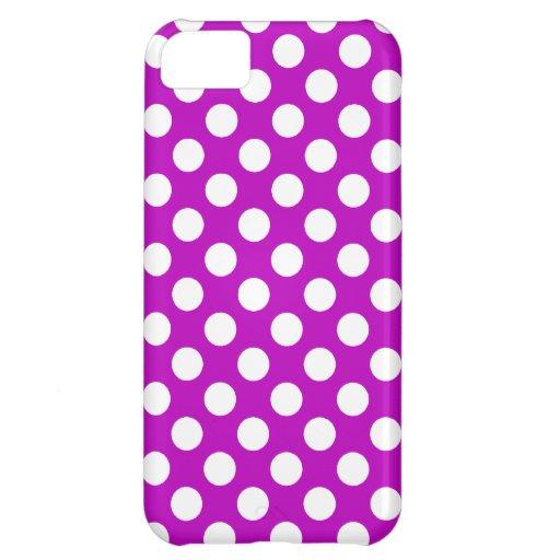 Deep Magenta Polka Dots iPhone 5C Covers