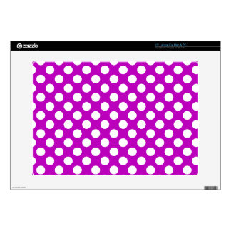 "Deep Magenta Polka Dots Decals For 15"" Laptops"