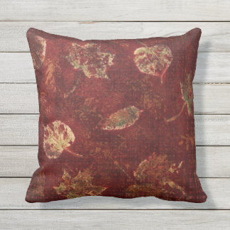 Deep Maroon Gold Fall Leaves Stencil Earthy Tartan Outdoor Pillow
