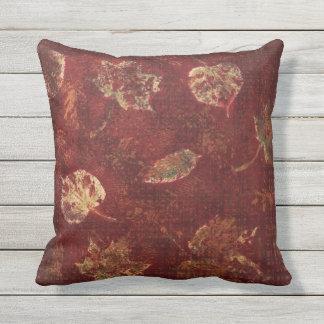 Deep Maroon Gold Fall Leaves Stencil Earthy Tartan Pillow