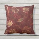 Deep Maroon Gold Fall Leaves Stencil Subtle Tartan Throw Pillows