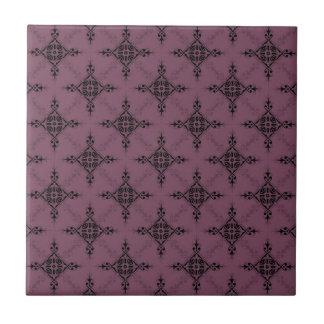 Deep Mauve and Black Damask Pattern Ceramic Tile