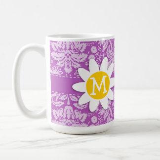 Deep Mauve Damask; Daisy Coffee Mugs