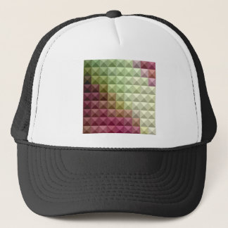 Deep Mauve Purple And Green Abstract Low Polygon B Trucker Hat