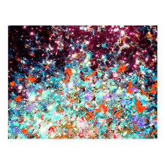 DEEP MIDWINTER Abstract Aqua Red Galaxy Ombre Art Postcard