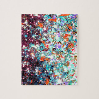 DEEP MIDWINTER Abstract Aqua Red Galaxy Ombre Art Jigsaw Puzzles