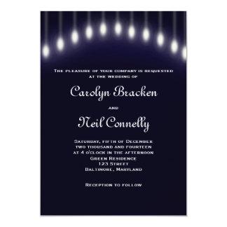 Deep Navy Blue Street Lights Wedding Invite