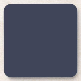 Deep Navy Dark Blue Solid Trend Color Background Drink Coasters