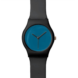Deep Ocean Blue Personalized Aqua Teal Background Watches