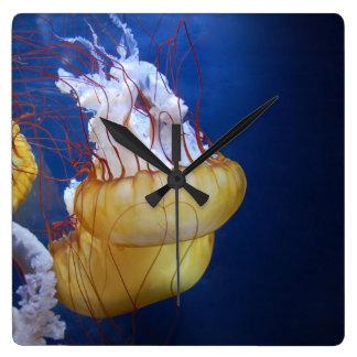 Deep Ocean Jelly Fish Square Wallclock