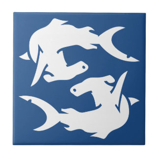 Deep Ocean Navy Blue Hammerhead Shark Fish Tiles