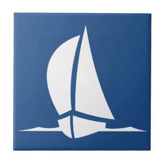 Deep Ocean Navy Blue Sailing Ship White Tiles