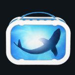 "Deep Ocean Shark Silhouette Lunch Box<br><div class=""desc"">Deep under the ocean,  looking up towards a shark. &#169; and &#174; Bigstock&#174; - All Rights Reserved.</div>"