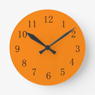 Deep Orange Color Kitchen Wall Clock