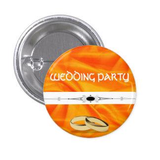 Deep Orange Silk Wedding 1 Inch Round Button