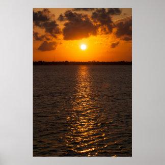 Deep Orange Sunset Poster
