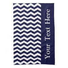 Deep Pacific Blue Wave Chevron customizable Towel