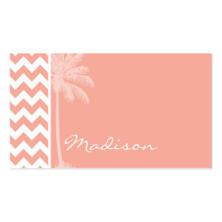 Deep Peach Chevron; Summer Palm Double-Sided Standard Business Cards (Pack Of 100)
