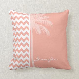 Deep Peach Chevron; Summer Palm Throw Pillow